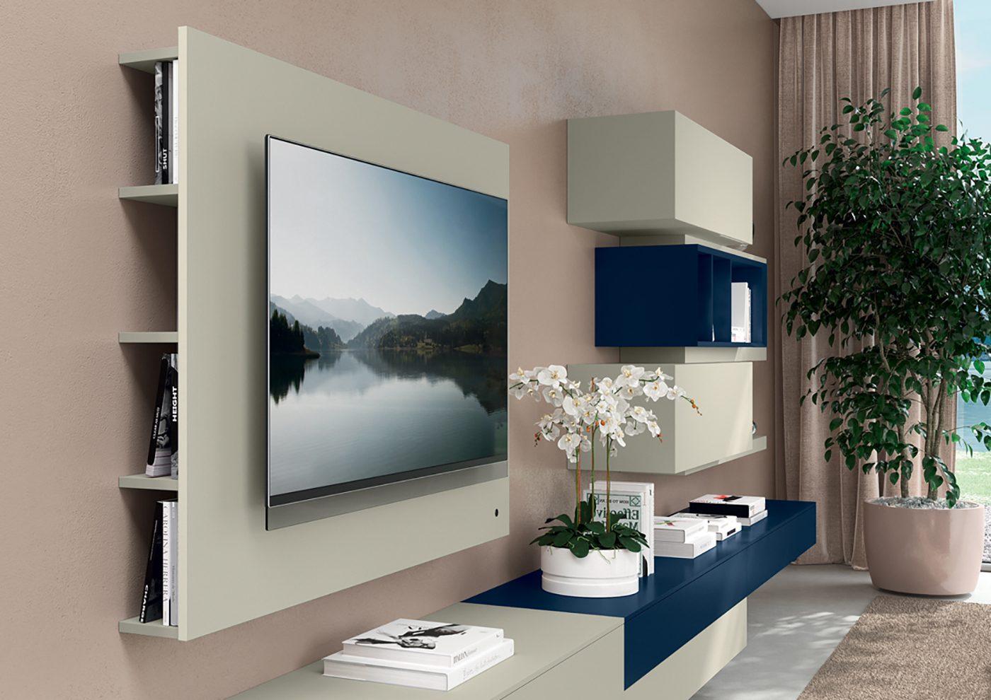 Febal Casa Sistema Giorno Diciotto porta tv con libraria integrata 140